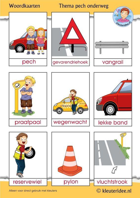Woordkaarten voor kleuters, thema pech onderweg 1, kleuteridee, free printable