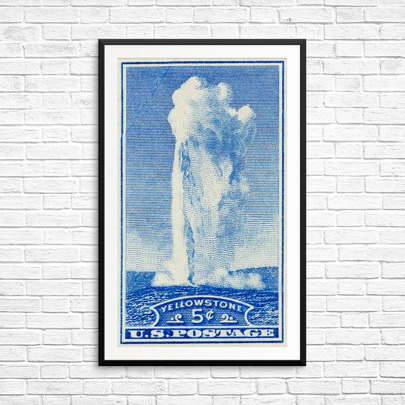 Art prints: Yellowstone Yellowstone poster Old by USAStampArt
