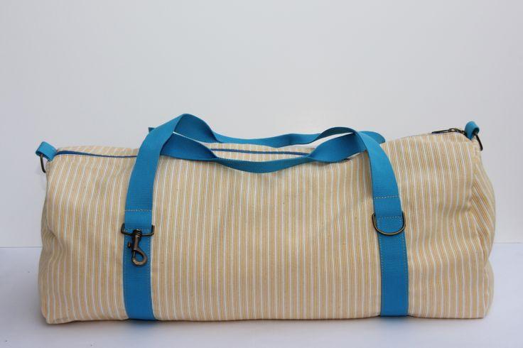 bag - 70x40 tessuto cotone a righe grandi e piccole bianche/gialle, finiture cotone turchese