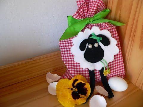 Velikonoční pytlík s aplikací ovečky pro nejmenší koledníky/Easter sack for little children