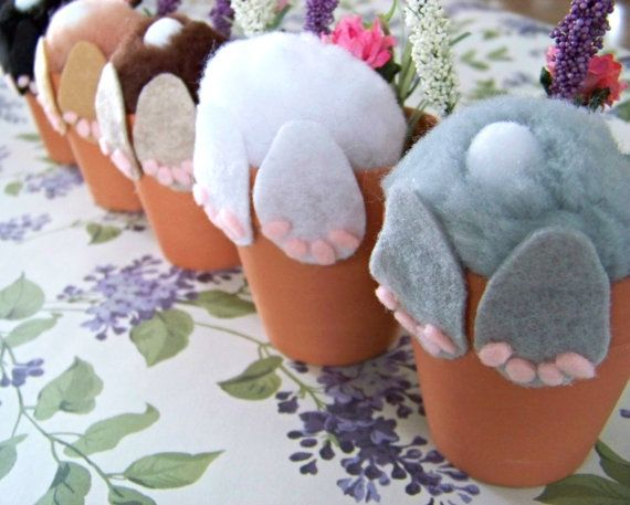 Curious Little Bunny Pot / Bunny In Flower Pot / Easter Decor / Cute Bunny Butt / Easter Basket Stuffer