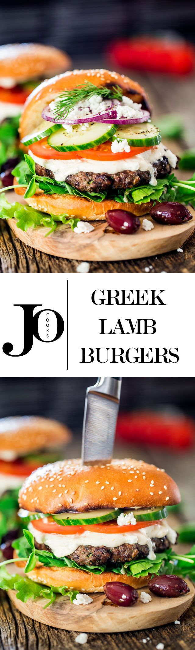 These Greek lamb burgers are grilled to perfection. They're juicy and flavorful, served on a toasted bun with tzatziki sauce, tomatoes, cucumbers and feta cheese.