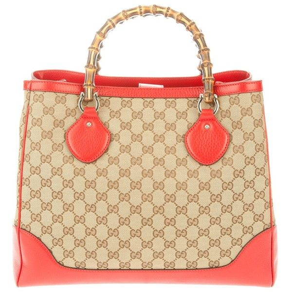 GUCCI monogram and bamboo tote, found on polyvore.com