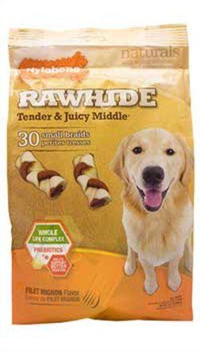 Nylabone Enhanced Rawhide Toro Braid Treats, Filet Mignon, 30 Count - http://www.thepuppy.org/nylabone-enhanced-rawhide-toro-braid-treats-filet-mignon-30-count/