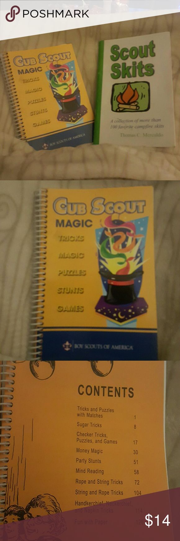 Scout Tricks, Magic, Puzzles, Stunts, Games & Skit Make your campfires, cookouts & den meetings more fun & get everyone involved in the Pack fun!   Cub Scout Magic is filled w/over 125 pages of fun Scout Skits has a collection of more than 100 favorite campfire skits.   Brand new,  just some markings on the cover from storage.  PRICE IS FIRM..... BUNDLE FOR MORE SAVINGS! Other