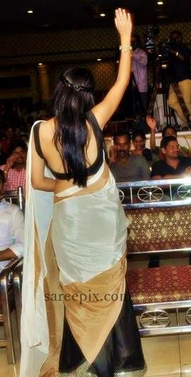 """Lavanya tripathi in half and half saree at """"BBM"""" success meet. She was beautiful in black and white half and half satee paired with backless blouse."""