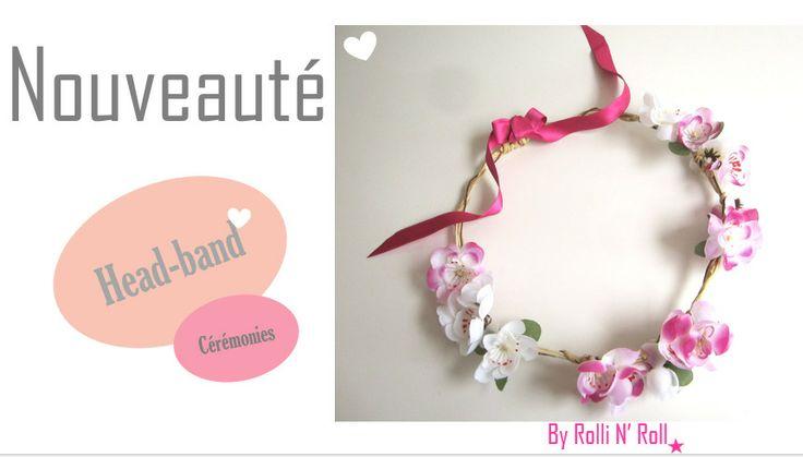 Accessoire coiffure / Headband / Couronne Fleurs rose fushias et blanches : Accessoires coiffure par rolli-n-roll