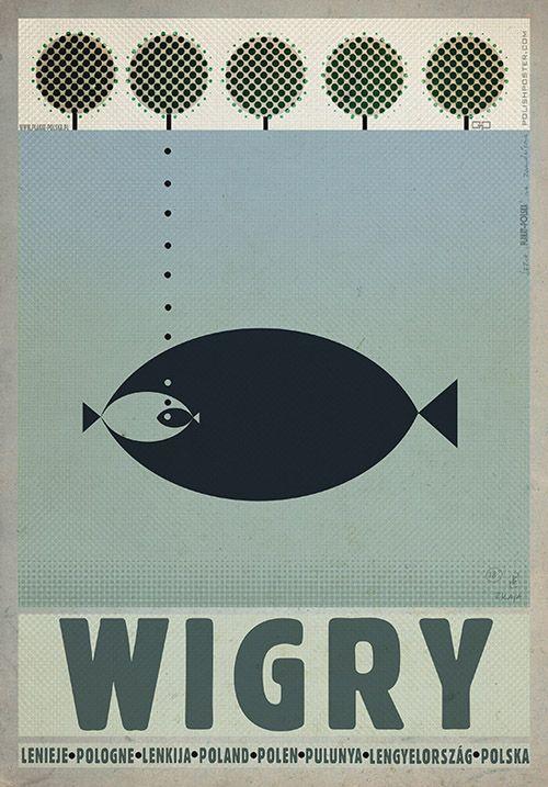 Wigry, Polish Promotion Poster by Ryszard Kaja