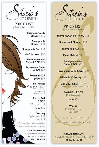 Hairdresser price card samples