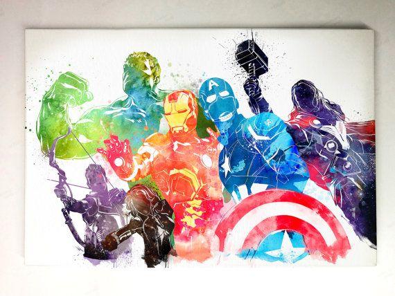 "Marvel Avengers Aquarell Leinwand Kunst, 12 ""X 18"" Gallery Wrap Leinwand Kunst"