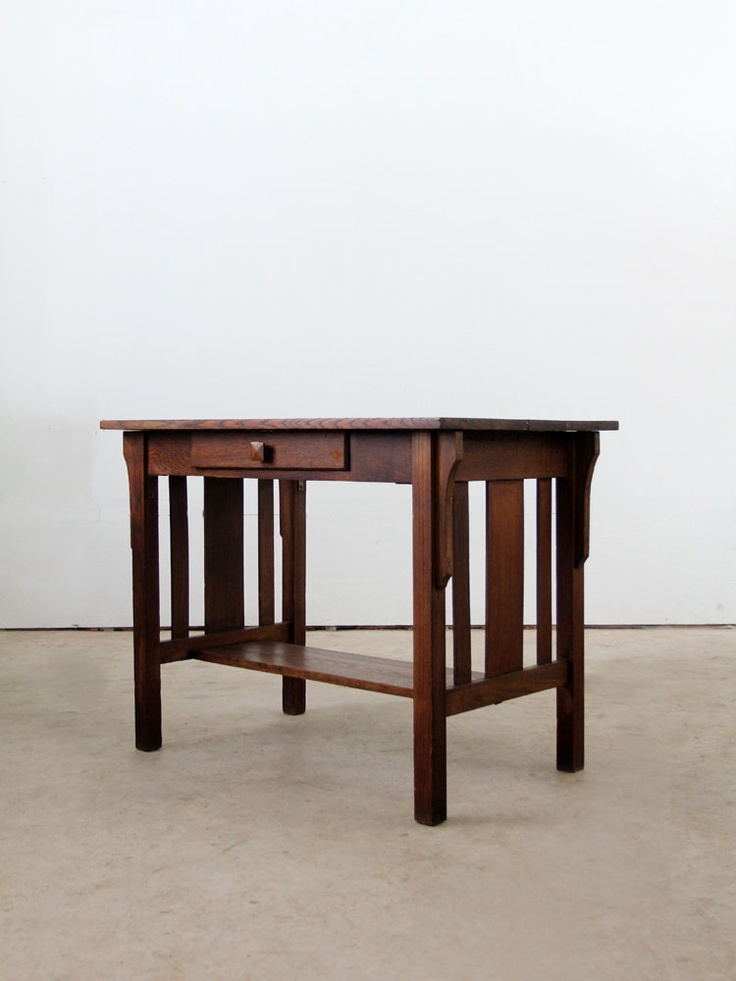 Antique mission style desk antique furniture for Craftsman style desk plans