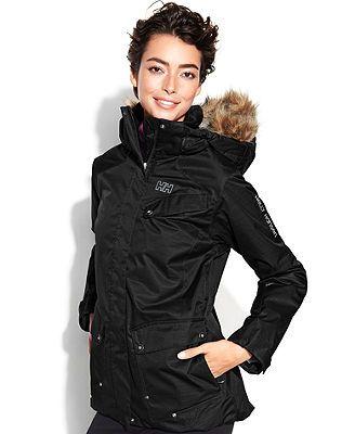 Helly Hansen Jacket, Harmony Hooded Faux-Fur-Trim Ski ...
