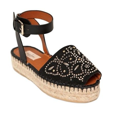 Valentino Teodora Leather And Suede Studded Espadrilles Black Sandals on Sale, 55% Off | Sandals on Sale