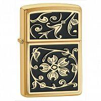 Zapalniczka Zippo Gold Floral Flush Emblem, Brushed Brass