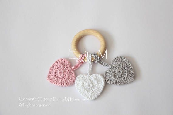 Baby teething ring, wooden teething ring, crochet teething ring, heart, eco friendly, teether, gift for baby, baby shower, pink, grey, white