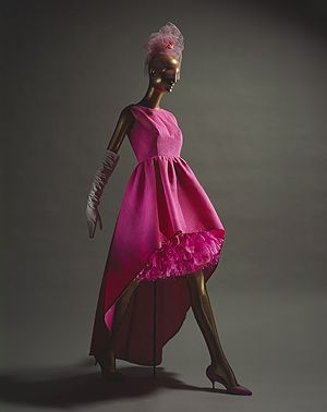 Cristobal Balenciaga (Spanish, 1895–1972) - Pink silk gazar with matching pink feathers