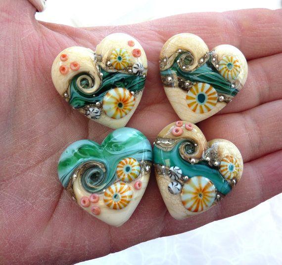 Lush Lampwork  Island Life heart focal bead   by LushLampwork, £17.00