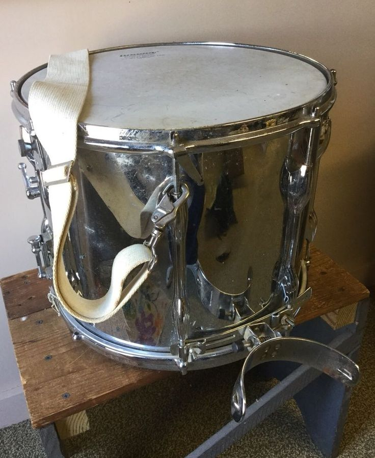 "Vintage Premier Chrome Metal Shell Marching Snare Drum 14"" Band with Strap  