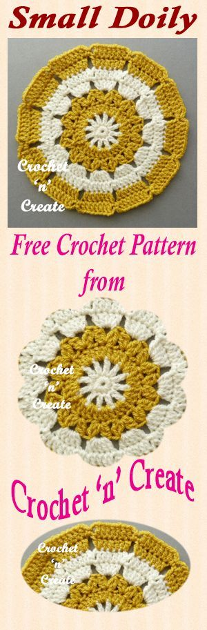 Free crochet pattern for small doily, use to decorate tables, side cabinets etc.