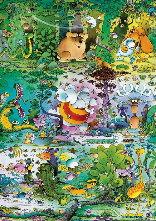 """Wildlife by artist Guillermo Mordillo. 1500 pieces. Finished size: 23"""" x 33"""". Includes poster!Mordillo is famous for humorous, colorful and wordless depictions of love, sports and long-necked animals. He was a widely published cartoonist in the 1970s and has been features in short animations as well as Hallmark Greeting cards."""