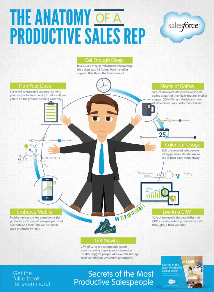 The anatomy of a productive sales representative in a cool, quick infographic.