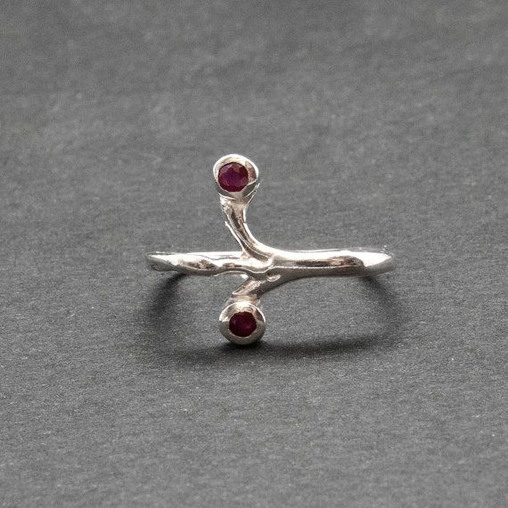 Ruby Ring Sterling Silver Square Artistic Ring by SunSanJewelry