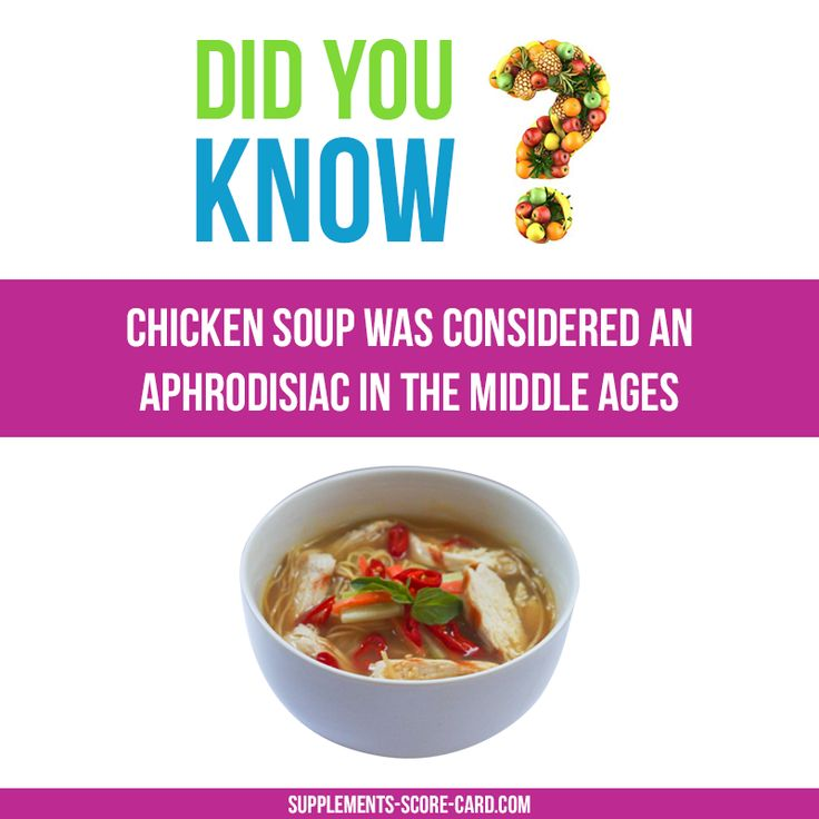 Chicken soup as aphrodisiac Chicken soup was once considered an aphrodisiac in the Middle Ages   Things you didnt know about food  Supplements ScoreCard