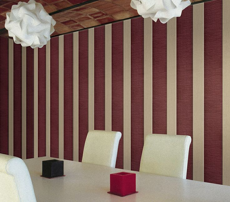 Red and White stripes. Palazzo Pitti #wallcoverings line. Made in Italy. maxmartinihome.com