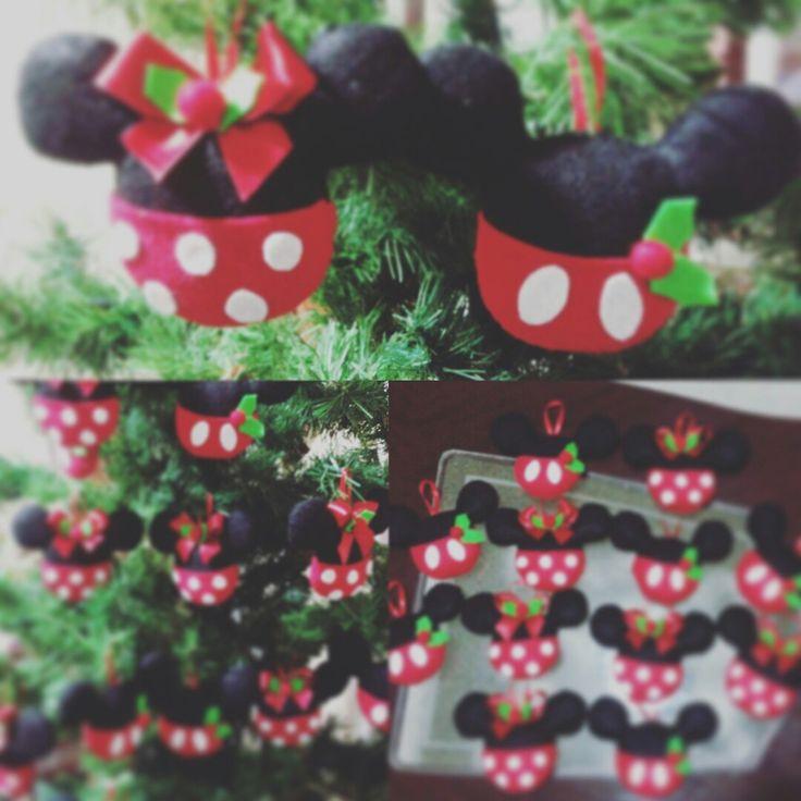 Esferas de minnie y mickey #navidad #disney #fieltro #hiloyaguja
