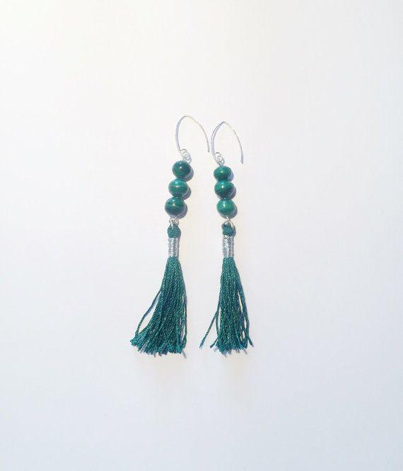Dark green color, malachite gemstones and .925 sterling silver base, tassel earrings