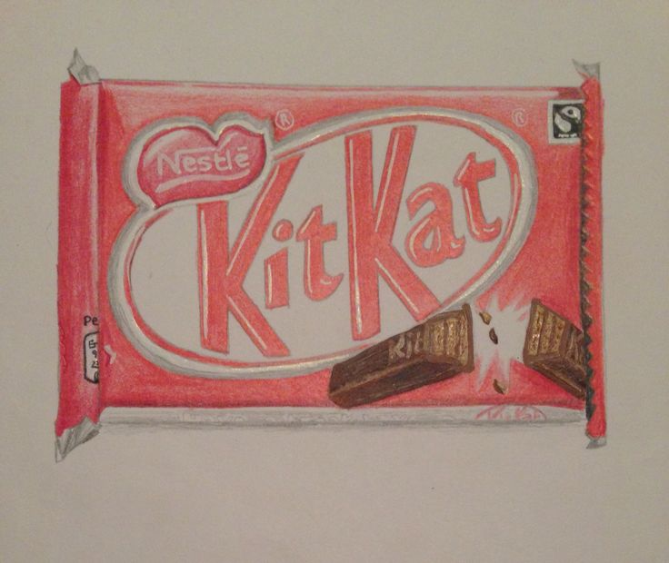 Kit Kat - coloured pencil and acrylic paint
