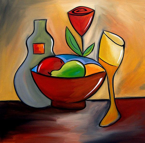 Thomas Fedro Paintings   ... In - Abstract Wine Art By Fidostudio Print By Tom Fedro - Fidostudio