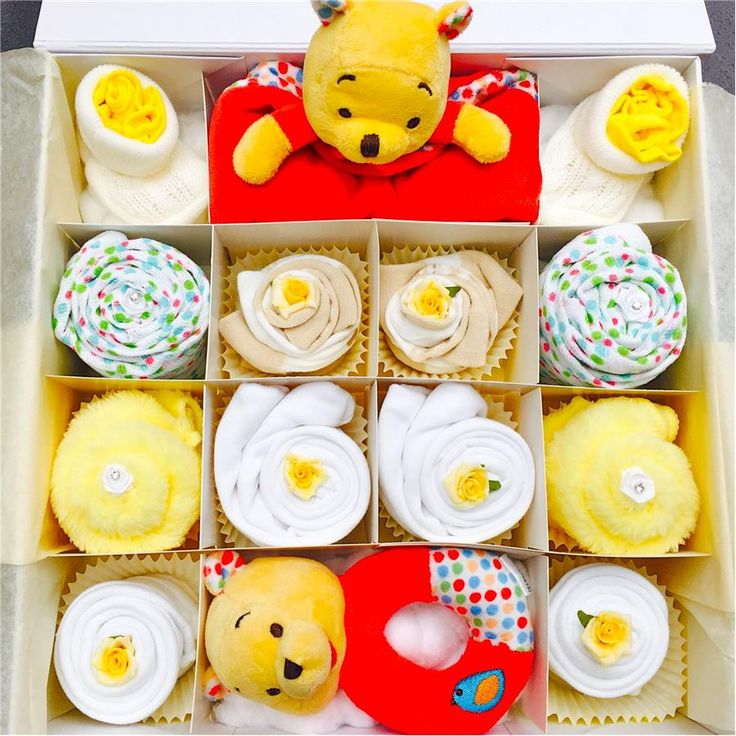 Super Deluxe Pooh Bear Cupcake Gift Set 0-3, 3-6 or 6-12 months
