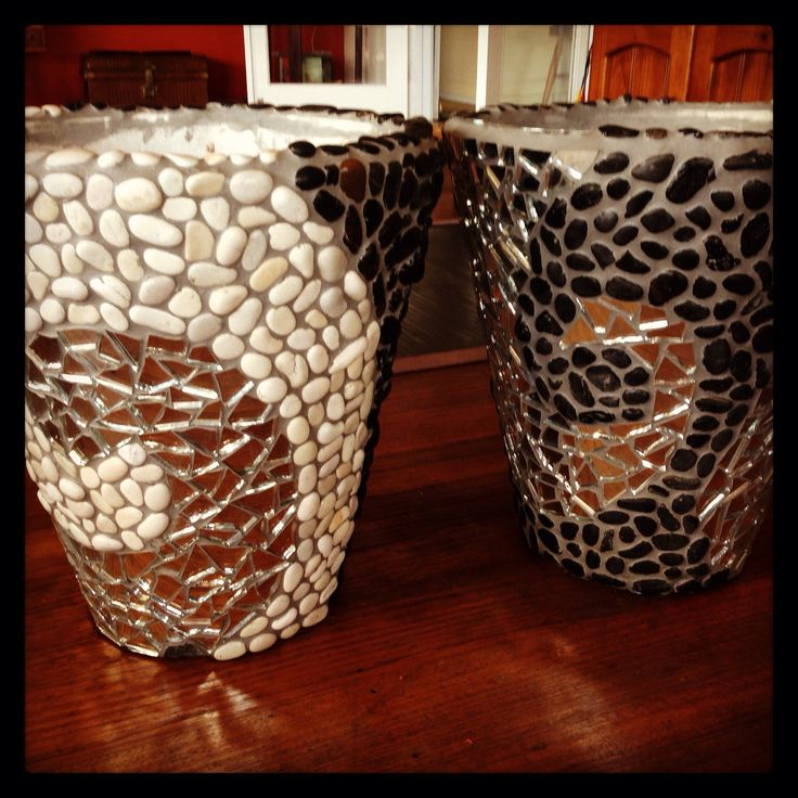 Natural stone & mirror mosaic pots by me
