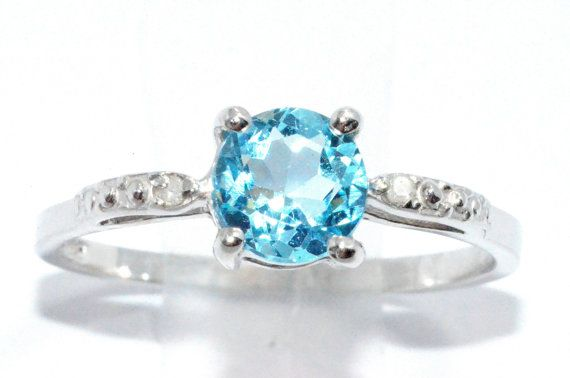 1 Carat Blue Topaz Diamond Ring .925 Sterling Silver Rhodium Finish White Gold Quality