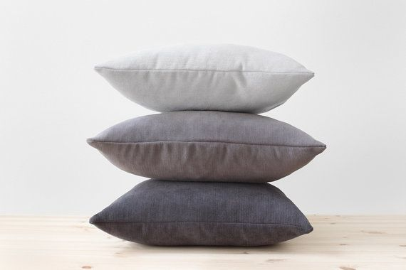 Gray Pillow Covers, Solid Grey Throw Pillow, Cotton Chenille Cushion, Modern Decor Minimalist Lumbar, Charcoal Gray, Light Gray, Dark Gray