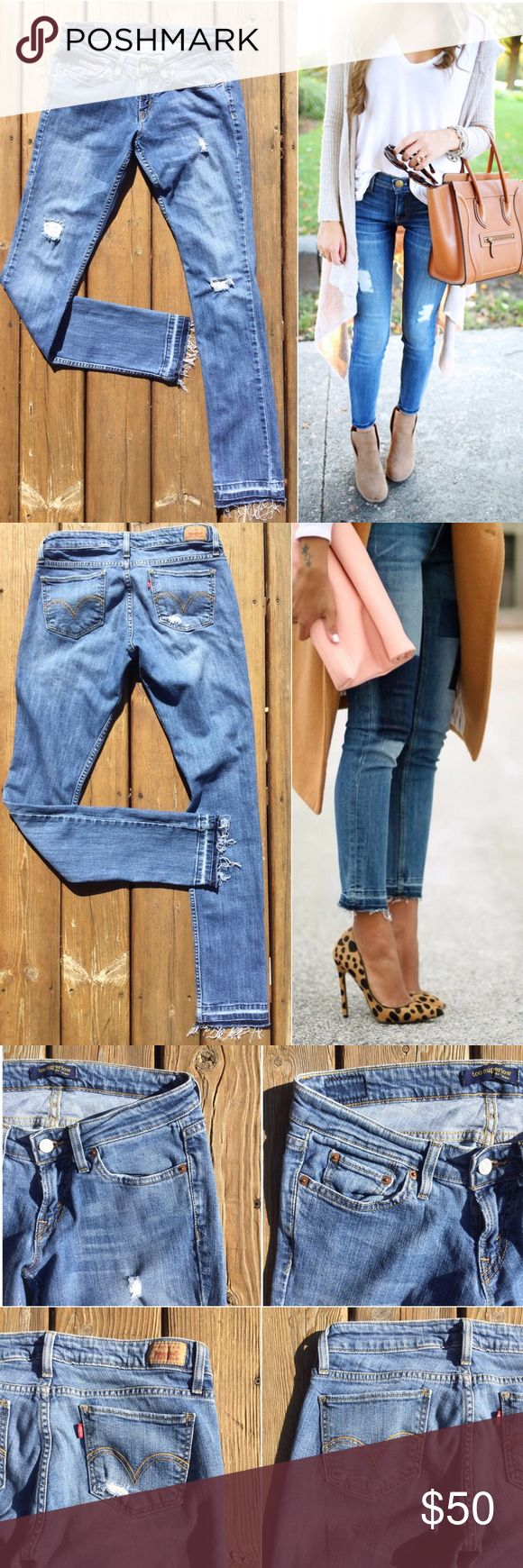 """LEVI'S 524 Too Superlow Skinn Jeans Sz 7 By far my favorite denim listing in my closet right now! Love the cool, broken-in vibe of these distressed Levi's with released hem. So many styling options for this season. (Modeled pics from southerncurlsandpearls.com & theyallhateus.com represent ideas for styling released hem skinny jeans only, not jeans for sale). App Meas -  Waist: 14.5"""" from side to side; Front Rise: 7.5""""; Back Rise: 12"""" ; Inseam: 32""""; Leg opening at hem: 6"""" from side to side…"""