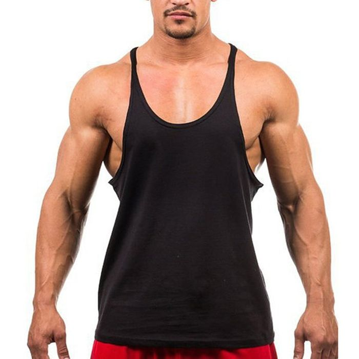 Solid Mesh Tank Top Men Sleeveless Shirt Bodybuilding Stringer Fitness Mens Singlet Vest,Red,L