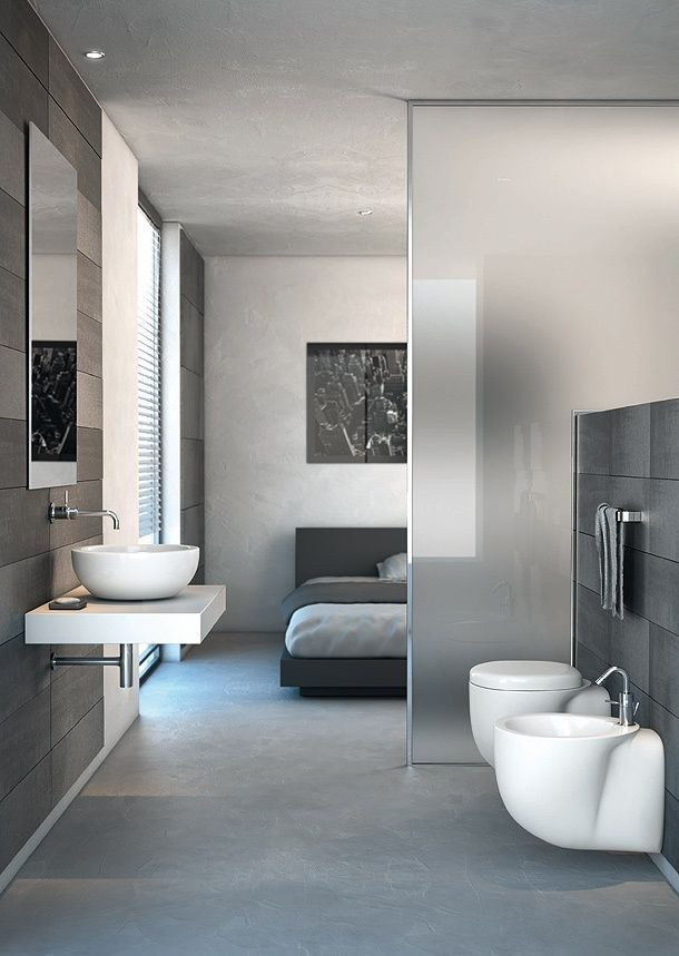 Interior Design, White Sheet Bed Grey Headboard Blanket Open Floorplan Bathroom Toilet Seat Bath Towel Hanger Wall Sink Chrome Single Hole Faucet Wall Mirror And Porcelain Floor ~ Attractive Room Divider Design: Way to Part Your Small Room Interior