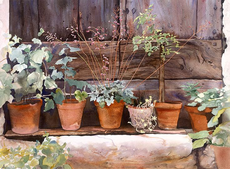 Lots of flowerpots standing on a wall, Watercolour Giclée print. £60.00, via Etsy.