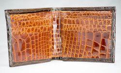 Brown and Cognac Full Alligator Wallet by John Allen Woodward