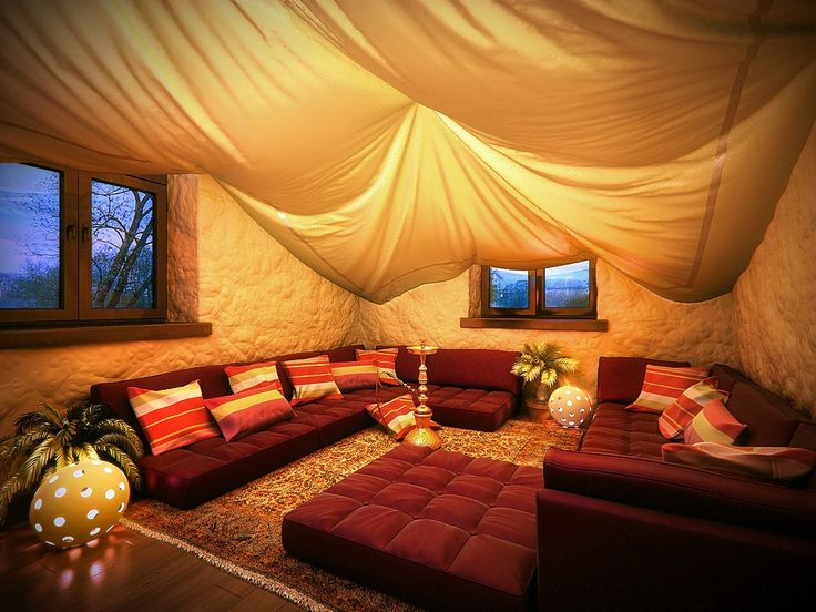 A cute, all-purpose area for gaming and sleeping. Overnight Dungeons and Dragons, video game marathons, that sort of thing. The hanging curtains also give it a nice blanket fort feel.