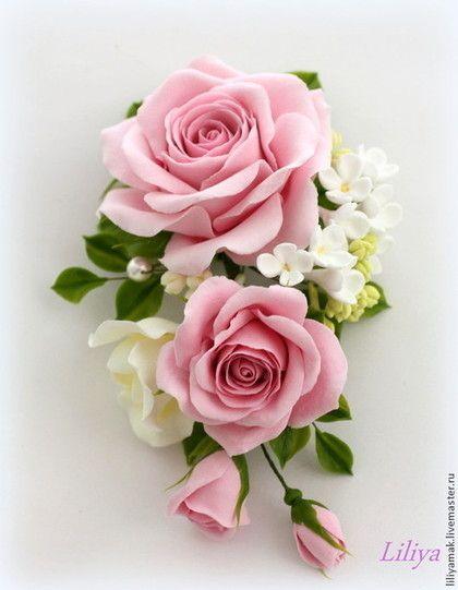"""Зажим для волос """"Розовый сад"""" - бледно-розовый,розы,заколка для волос"""