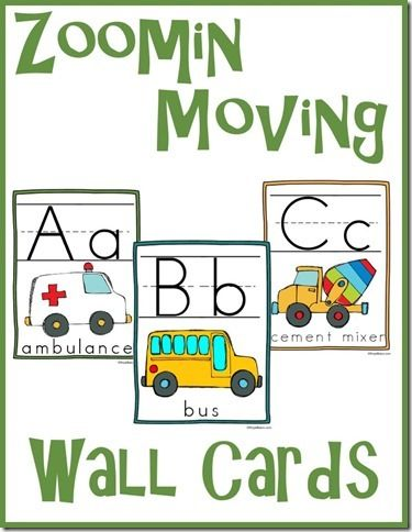 Free Zoomin Moving ABC Wall Cards