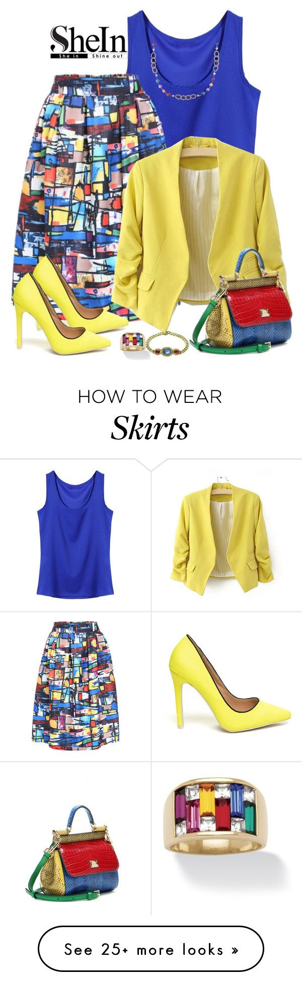 """SheIn Multi Colored Skirt"" by lorrainekeenan on Polyvore featuring Dolce&Gabbana, Bulgari, Palm Beach Jewelry and Ice"