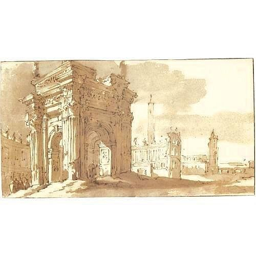 JACOB VAN DER ULFT GORINCHEM 1627 - 1689 NOORDWIJK A ROMAN FANTASY WITH ANCIENT BUILDINGS INCLUDING A TRIUMPHAL ARCH measurements note 3 15/16 by 7 1/4 in; 100 by 184mm pen and brown ink and wash over black chalk, within brown ink framing lines on