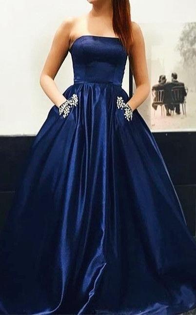 77e899d2b05a4 Strapless A-line Long Prom Dress School Dance Dress Fashion Winter Formal  Dress YDP0399