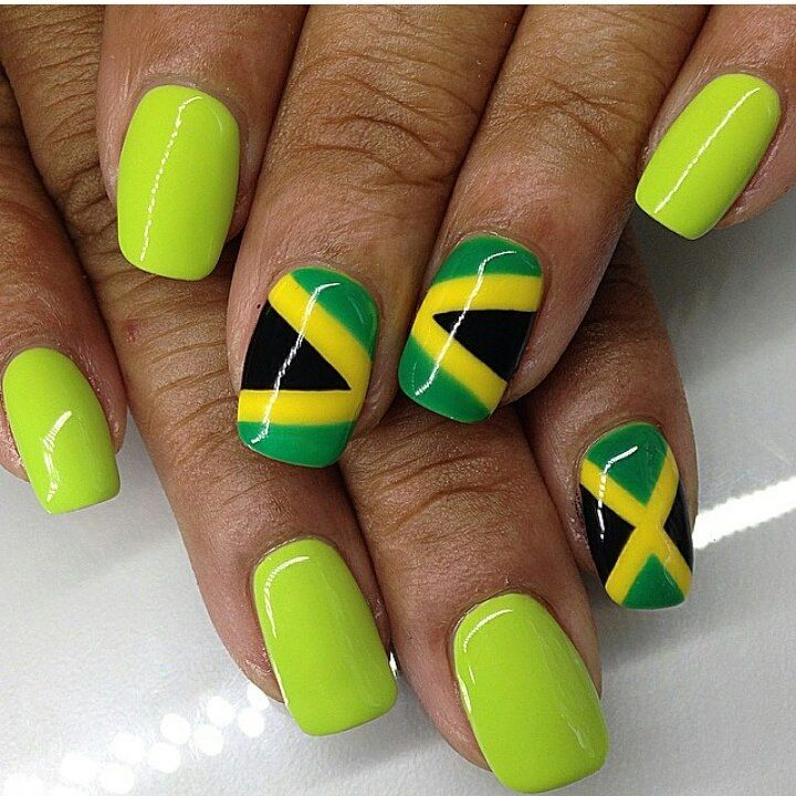 Jamaican inspired nail art