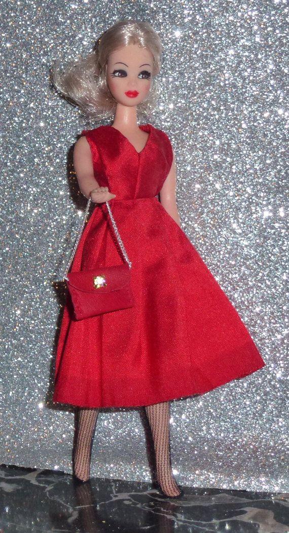 OOAK topper Dawn doll outfit Carmine dupioni silk fabric