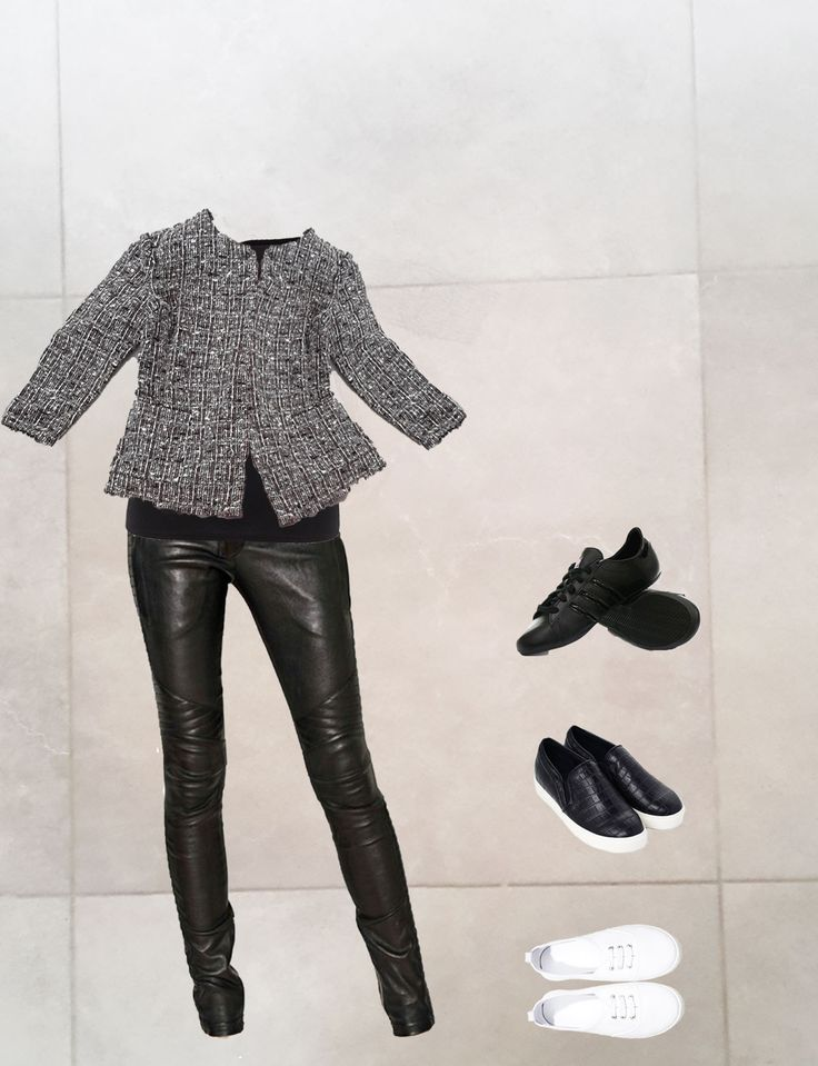 Styling real wardrobe, stylist: Katerina, fashion expert from Russia. Get free consultation from fashion bloggers! #4Styler #stylist #wardrobe #grey #pants #leather #skinny #balmain #layer #layering #grey #collage #black #textile #faux #leather #slippons #zara #white #jacket #grey #brown #tweed #sneakers #handm #black #daddys #ankle #boots